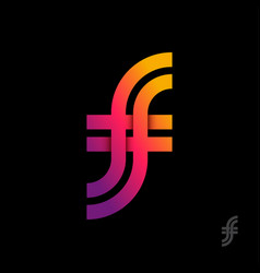 F and monogram intertwined letters double vector