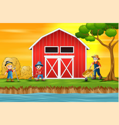 farmers working in front of a barn vector image
