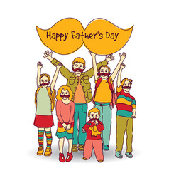 Fathers day children moustache greeting card vector