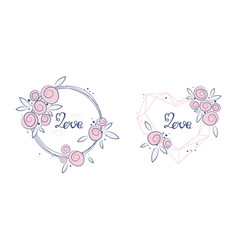 floral art nature love sign with hand drawn vector image