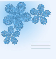 floral doodle card in blue color vector image