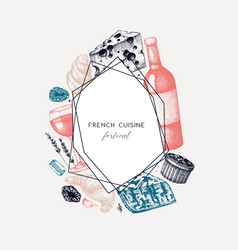 French cuisine menu design hand drawn food and vector