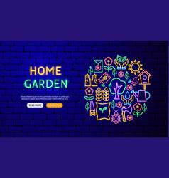 garden nature neon banner design vector image