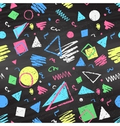 Geometric color chalked seamless pattern vector