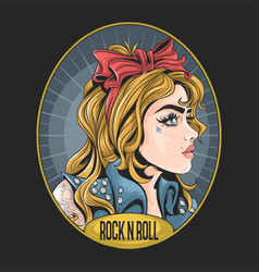 girl with rock n roll jacket and tattoo artwork vector image