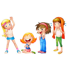 Girls in four actions vector