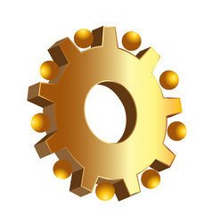 gold gear setting icon vector image