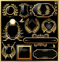 Golden label with laurel wreaths vector