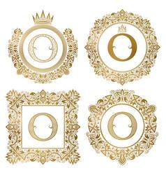 golden letter o vintage monograms set heraldic vector image
