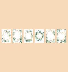 green leaf frames spring wedding invitations vector image