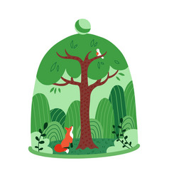 green tree forest with fox under a transparent vector image