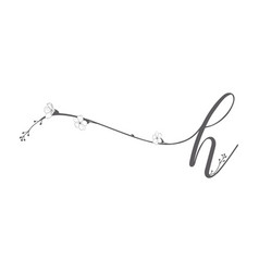 hand drawn floral h monogram and logo vector image
