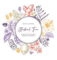 Hand sketched herbal tea ingredients wreath vector