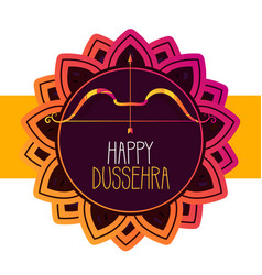 Happy dussehra festival greeting banner with bow vector