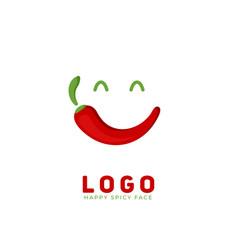 Happy spicy chili smile face logo icon symbol vector