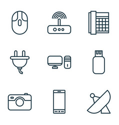 hardware icons set with photographing sputnik vector image