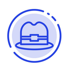 hat tourism man blue dotted line line icon vector image