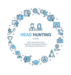 head hunting signs round design template thin line vector image