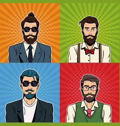 Hipsters mens with accesories vector