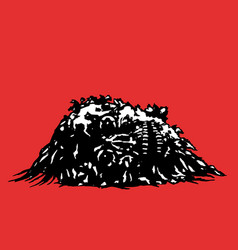 horror skull lies in a pile of purulence vector image