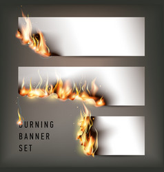 Hot fire banners set with orange flames for your vector