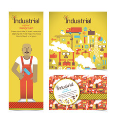 Industrial equipment and workman banners set vector
