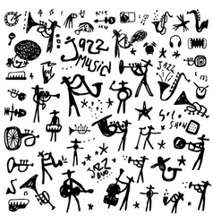 Jazz musicians music instruments party - doodle vector