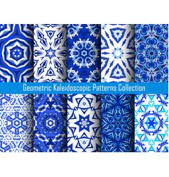 kaleidoscope decorative blue backgrounds vector image