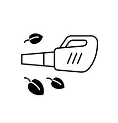 Leaf blower black linear icon vector
