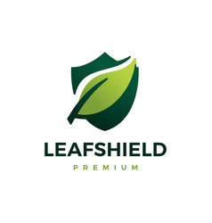 leaf shield logo icon vector image