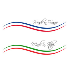 Logos made in france and made in italy vector