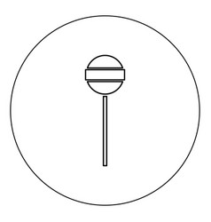 lollipop icon black color in circle isolated vector image