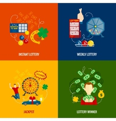 Lottery 4 flat icons vector image