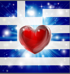 love greece flag heart background vector image