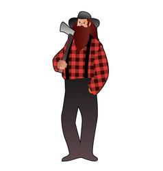 lumberjack man in cartoon style with long beard vector image