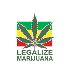 Marijuana leaf on rastafarian flag vector