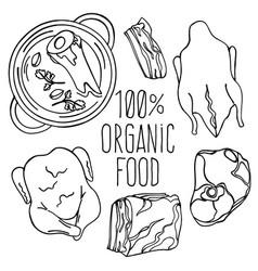 Meat food carnivore diet organic vector