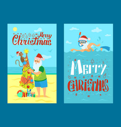 Merry christmas santa claus monkey and umbrella vector