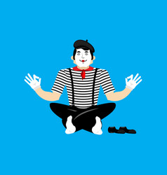mime yoga yogi pantomime mimic relaxation and vector image