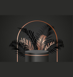 minimal dark scene with geometric shapes and palm vector image