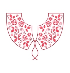 Neck line embroidery design with flowers vector image