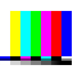 No signal tv test card color bars vector