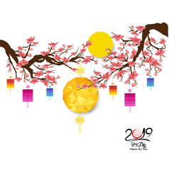Oriental chinese new year 2019 cherry blossom vector