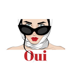 oui hand drawn girl in shawl and vector image