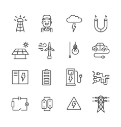 Outline Electricity Icons vector