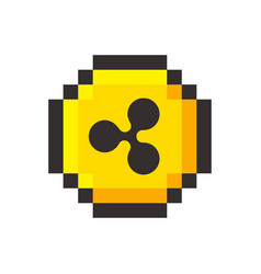 Pixel art ripple golden coin retro video game vector