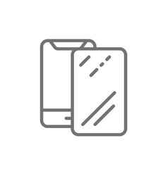 Protective glass on smartphone line icon vector