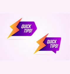 Quick tips icons with lightning bolt sign vector