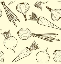 Seamless pattern of vegetables contour vegan food vector