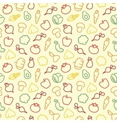 Seamless pattern with contours of vegetables vector
